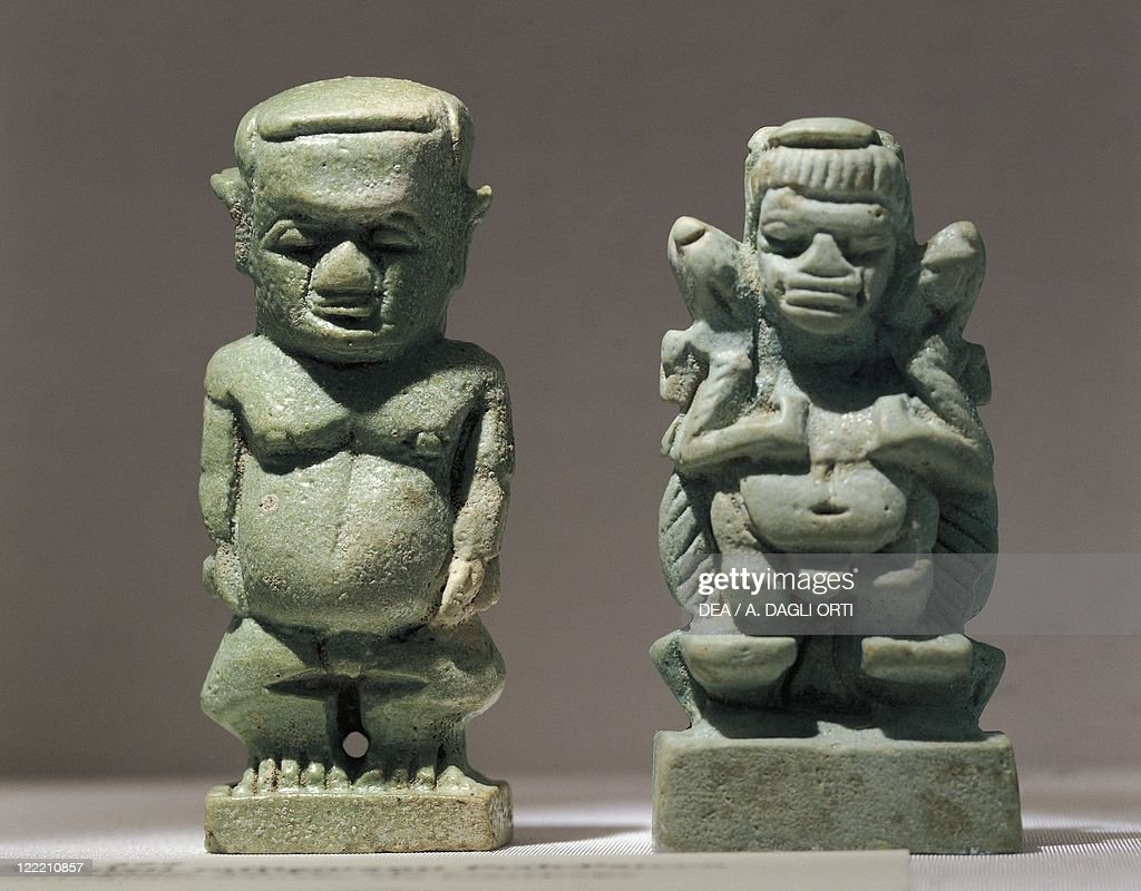 Tunisia, Carthage, Amulets representing the God Ptah, Siliceous paste  : News Photo