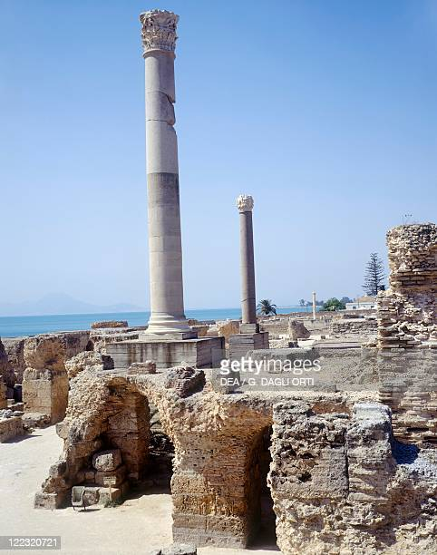 Tunisia Carthage archaeological site Ruins of frigidarium columns at Antonine baths 2nd century AD