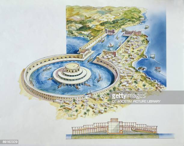 Tunisia Carthage Reconstruction of the two Punic ports drawing