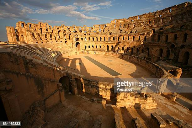 tunisia, colosseum in el djem - tunisia stock pictures, royalty-free photos & images