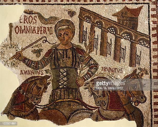 Tunisia Dougga Mosaic work depicting Eros the winner of the circuses' games