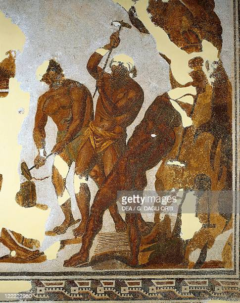 Tunisia Dougga Mosaic work depicting the Cyclops forging the Zeus thunderbolts in the Vulcan cave