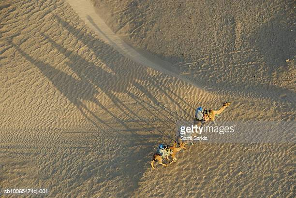 Tunisia, Douz, Sahara Desert, tourists on camel ride, aerial view