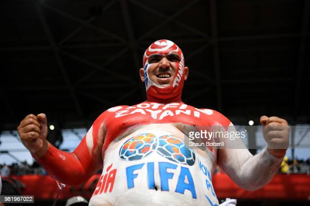 Tunisia fan enjoys the pre match atmosphere during the 2018 FIFA World Cup Russia group G match between Belgium and Tunisia at Spartak Stadium on...