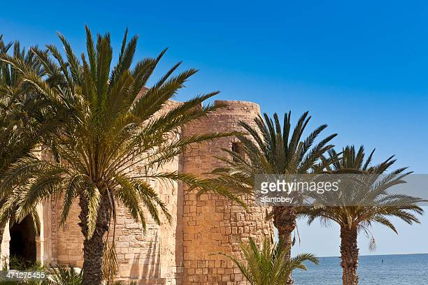 tunisia: fort ghazi mustapha on the island of djerba - djerba stock pictures, royalty-free photos & images