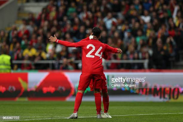 Tunisia forward Anice Badri celebrates scoring Tunisia's first goal during the International Friendly match between Portugal and Tunisia at Estadio...