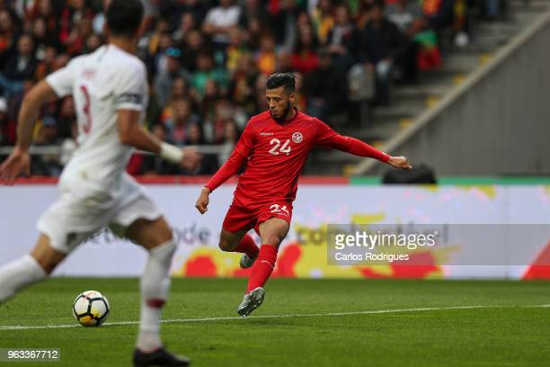 Tunisia forward Anice Badri scores Tunisia's first goal during the International Friendly match between Portugal and Tunisia at Estadio AXA on May 28...