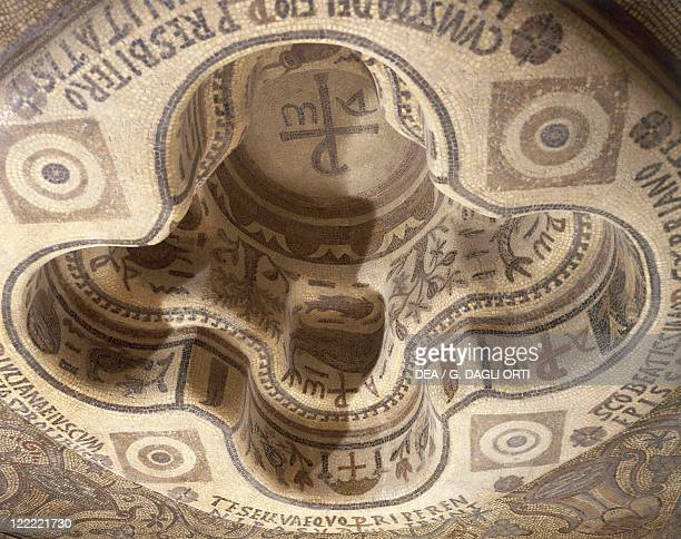 Tunisia Kelibia Baptismal font decorated with a mosaic work dedicated to Saint Cyprian bishop of Carthagines