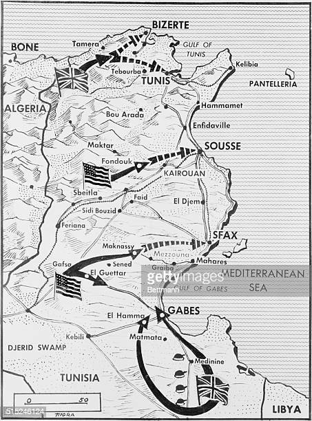 Tunisia Map How the allies are trapping 'The Fox' New York A splendid map of Tunisia showing how the British Eighth Army in the south the British...
