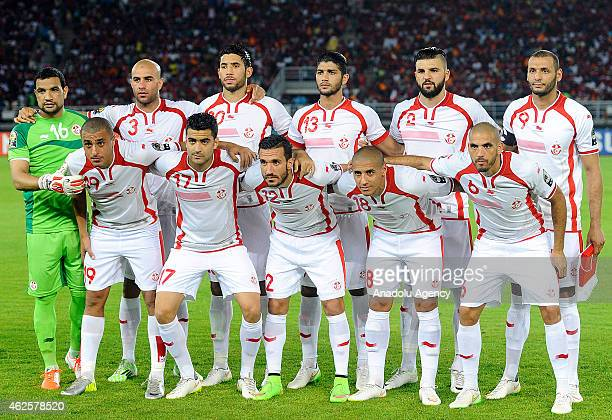 Tunisia National football team pose for a team photo prior to the 2015 African Cup of Nations quarterfinal football match between Equatorial Guinea...
