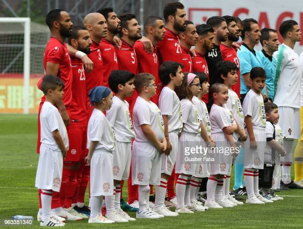 Tunisia players before the start of the International Friendly match between Portugal and Tunisia at Estadio Municipal de Braga on May 28 2018 in...