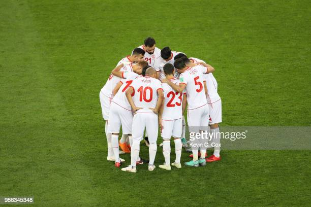 Tunisia players form a huddle prior to the 2018 FIFA World Cup Russia group G match between Panama and Tunisia at Mordovia Arena on June 28 2018 in...