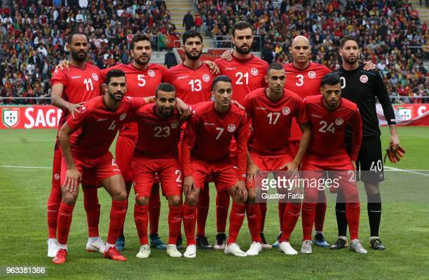 Tunisia players pose for a team photo before the start of the International Friendly match between Portugal and Tunisia at Estadio Municipal de Braga...