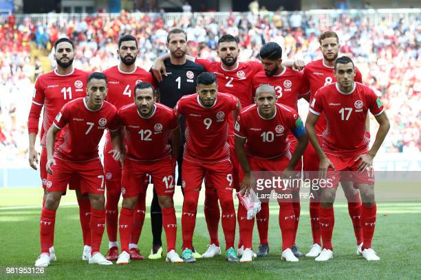 Tunisia pose prior to the 2018 FIFA World Cup Russia group G match between Belgium and Tunisia at Spartak Stadium on June 23 2018 in Moscow Russia
