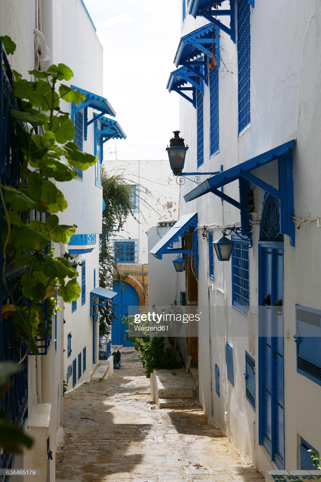Tunisia, Sidi Bou Said, traditional residential houses : Foto stock