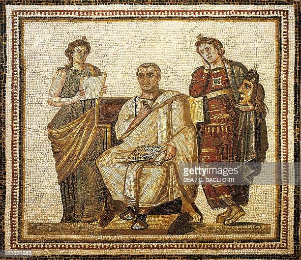 Tunisia Susa Mosaic work depicting the poet Virgil writing the Aeneid sitting between the muses Clio and Melpomene