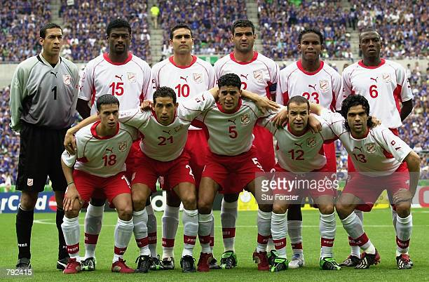 Tunisia team group taken before the FIFA World Cup Finals 2002 Group H match between Japan and Tunisia played at the OsakaNagai Stadium in Osaka...