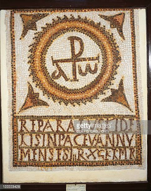 Tunisia The Uppenna Mosaic Mosaic work depicting a tomb with an epitaph alpha and omega