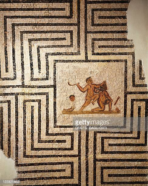 Tunisia Thuburbo Majus Mosaic work depicting Theseus against the Minotaur in the labyrinth