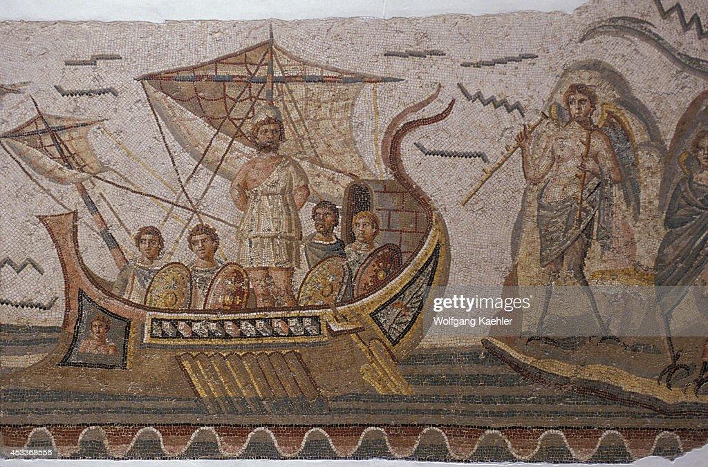 Tunisia, Tunis, Bardo Museum, Roman Mosaic, Odysseus On Ship... : News Photo