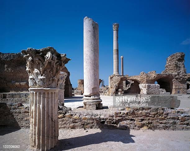 Tunisia Tunis Governatorate Carthage Roman archaeological site of ancient Karthago Ruins of the thermal baths of Antoninus Pius The Frigidarium...