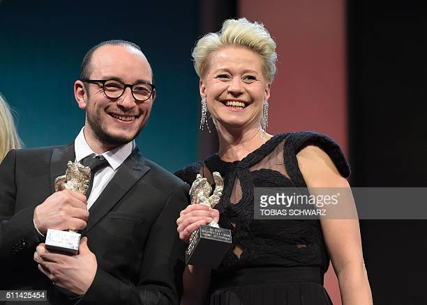 """Tunisian actor Majd Mastoura awarded Silver Bear for best actor for the film """"Hedi"""", poses with Danish actress Trine Dyrholm awarded Silver Bear..."""