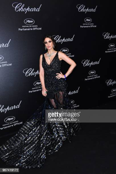 Tunisian actress Dorra Zarrouk poses as she arrives on May 11 2018 for the Chopard Gentlemen's party on the sidelines of the 71st edition of the...