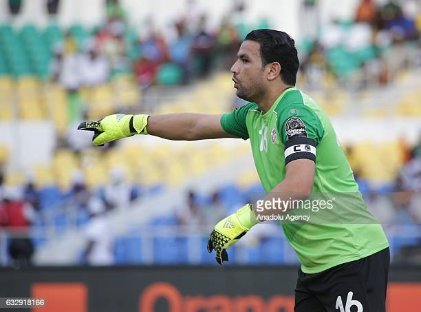 Tunisian Aymen Mathlouthi in action during the 2017 Africa Cup of Nations quarterfinal football match between Burkina Faso and Tunisia at the Stade...