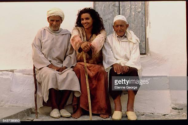 Tunisian born Actress Amina Annabi and x on the set of 'La Nuit sacre' directed by Nicolas Klotz based on the Tahar Ben Jelloun novel of the same name
