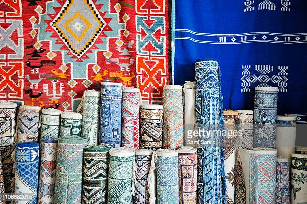 Tunisian carpets displayed in shop