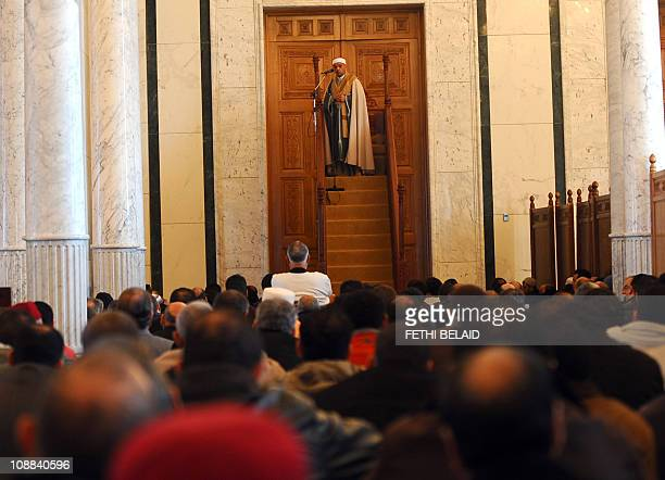 Tunisian cheikh Mohamed Machfer gives his sermon during friday prayer on February 4 2011 in Zine El Abidine Ben Ali mosquee in Carthage near Tunis...