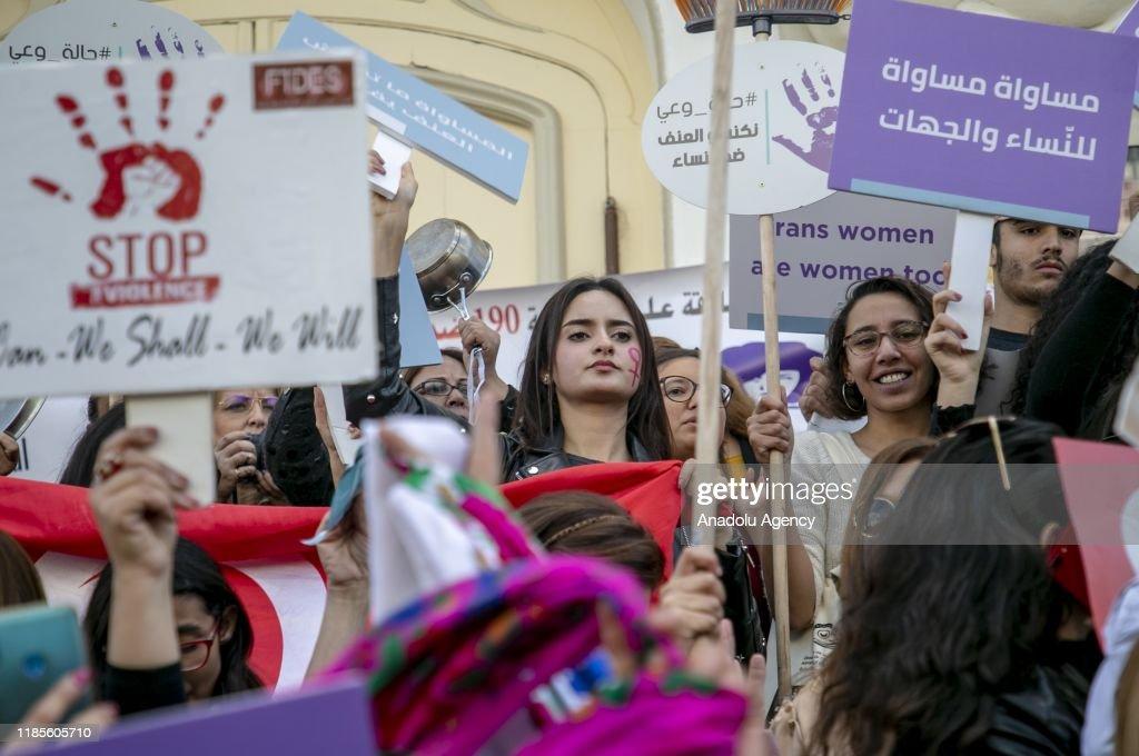 Tunisians march against violence towards women : News Photo