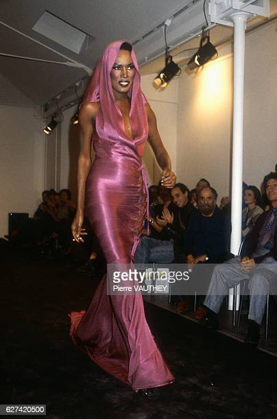 Tunisian designer Azzedline Alaia shows his women's 1986 springsummer haute couture line in Paris Model Grace Jones also known for her singing and...