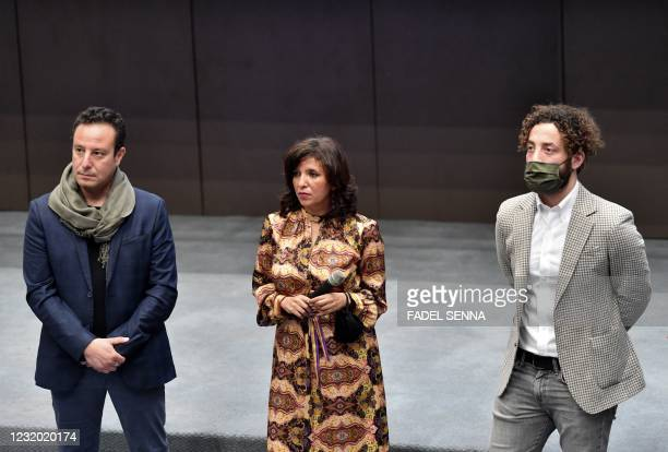 Tunisian director and screenwriter Kaouther Ben Henia , producer Mohamed Habib Attia , and Syrian actor Yahya Mahayni, attend the first screening of...