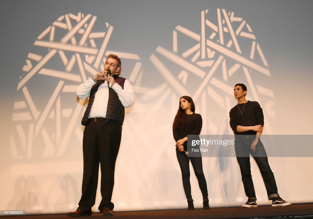 Tunisian director Mehdi Ben Attia, actress Hafsia Herzi and Actor Karim Ait M'Hand attend 'L'Amour Des Hommes' : Premiere At Institut du Monde Arabe on February 20, 2018 in Paris, France.