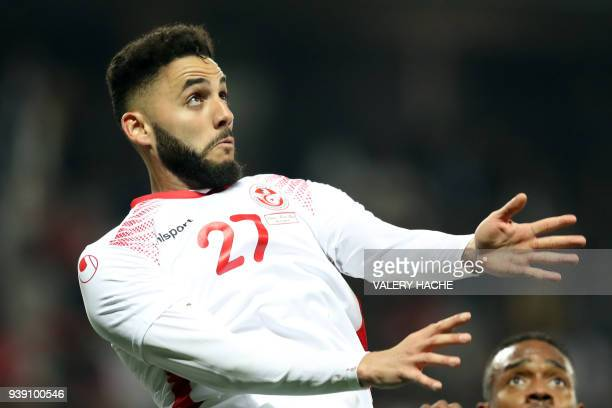 Tunisian Dylan Bronn is pictured during the friendly football match between Tunisia vs Costa Rica on March 27 2018 at the 'Allianz Riviera Stadium'...