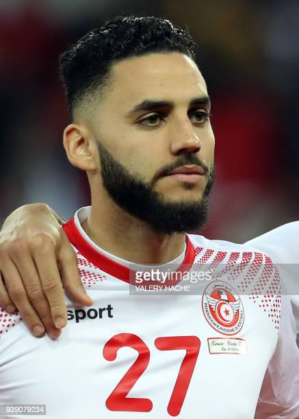 Tunisian Dylan Bronn poses during the friendly football match between Tunisia vs Costa Rica on March 27 2018 at the 'Allianz Riviera Stadium' in Nice...