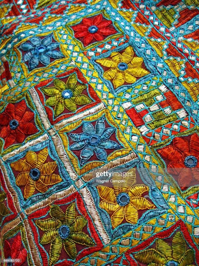 Tunisian Embroidered Fabric : Stock Photo