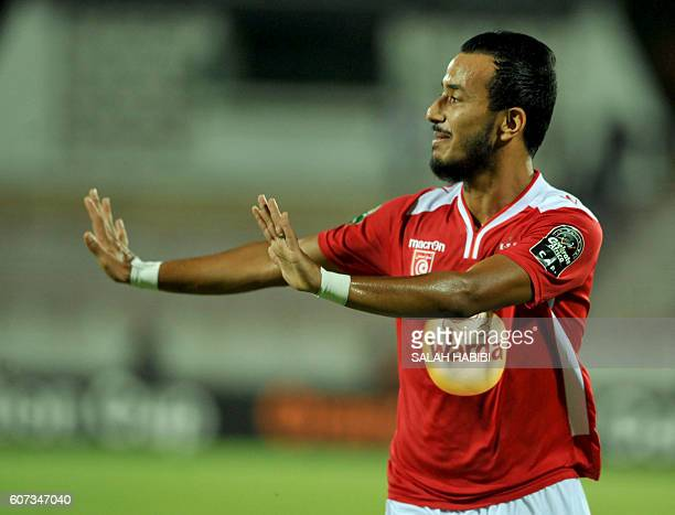 Tunisian ES Sahel striker Hamza Lahmar jubulates after his goal against Congolese TP Mazembe on September 17 at the Olympic stadium in Sousse during...