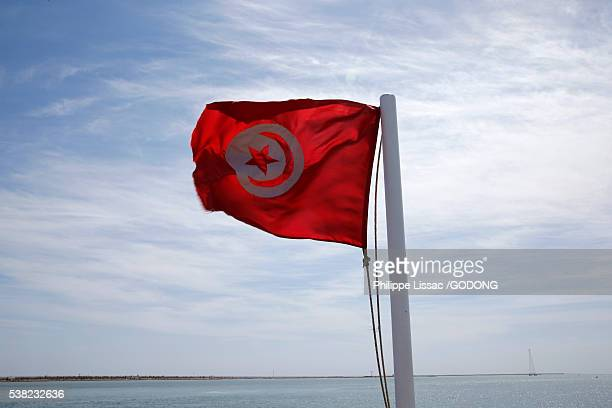 tunisian flag on a ferry boat. - djerba stockfoto's en -beelden