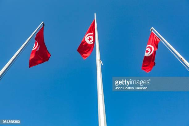 tunisian flags - drapeau tunisien photos et images de collection