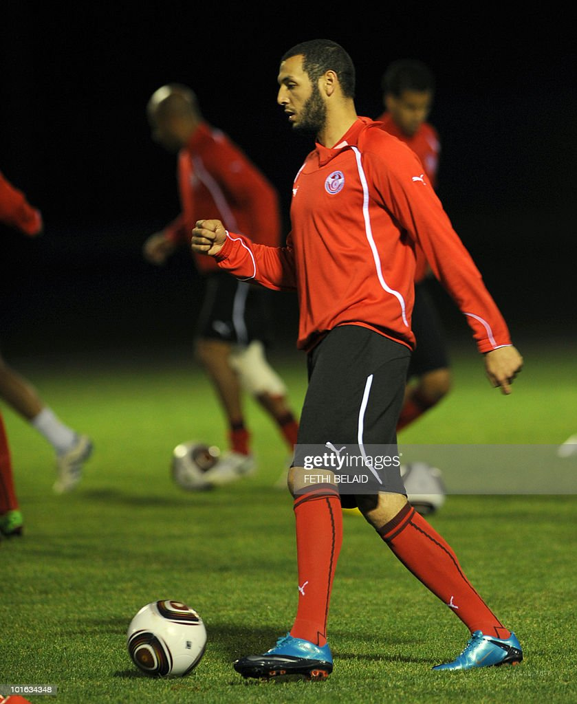 Tunisian football national team's striker Yassine Chikhaoui kicks a ball during a training session, on May 28, 2010 in Rades near Tunis two a days before their friendly match against the France team in Tunis. .