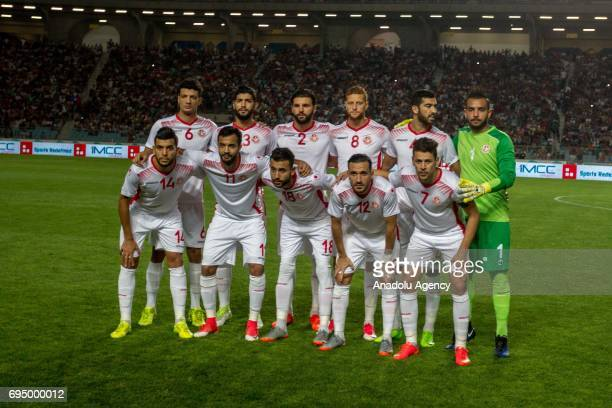 Tunisian footballers pose for a team photo prior to the African Cup of Nations 2019 qualifier football match between Tunisia and Egypt at Olympus...