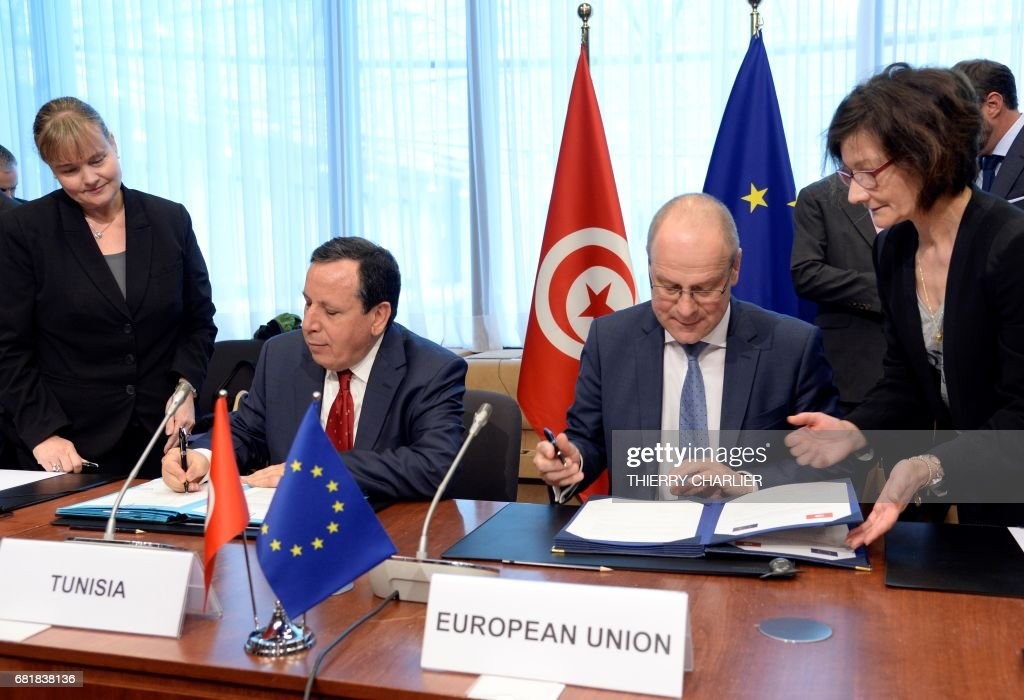 BELGIUM-EU-TUNISIA-DIPLOMACY : News Photo
