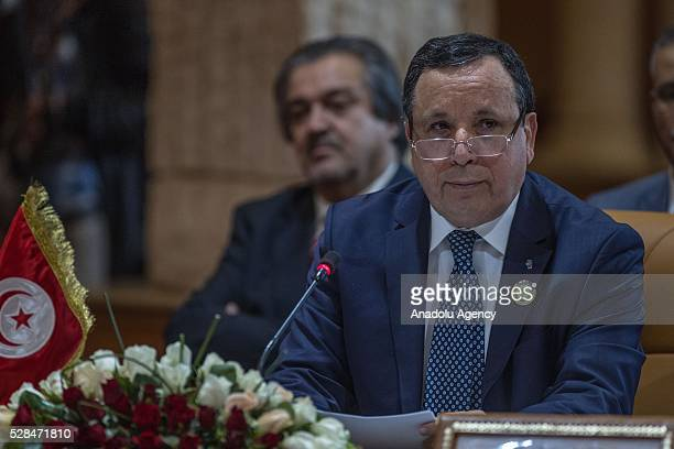 Tunisian Foreign Minister Khamis alJehinawi delivers a speech during 34th Arab Maghreb Union Foreign Ministers meeting at Golden Tulip in Tunis...