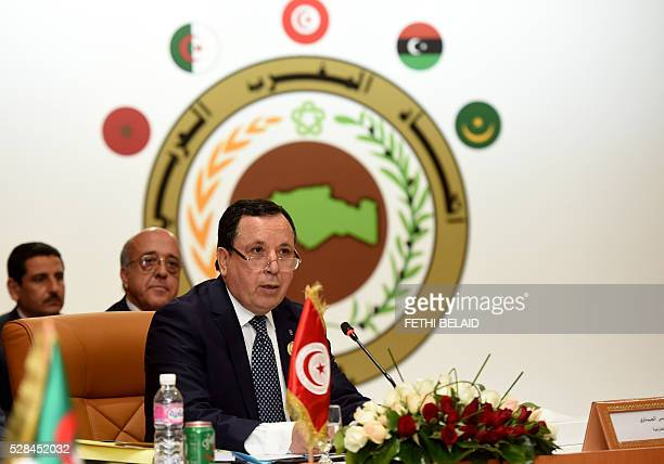 Tunisian Foreign Minister Khemaies Jhinaoui addresses the audience during the 34th session of the Arab Maghreb Union Foreign Affairs Council on May 5...