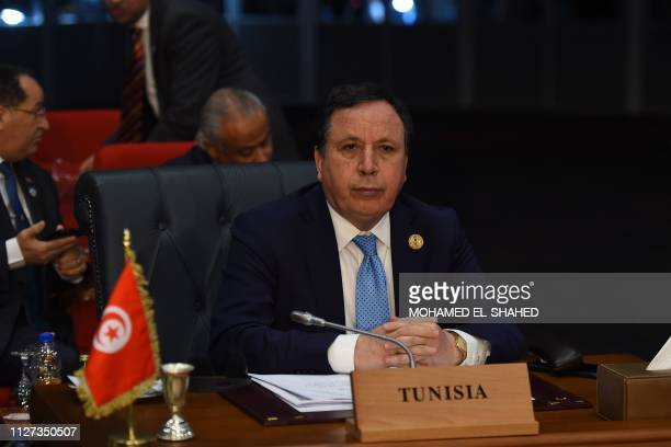 Tunisian Foreign Minister Khemaies Jhinaoui attends the final session of the first joint European Union and Arab League summit in the Egyptian Red...