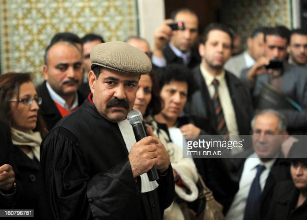 Tunisian lawyer and human rights activist Chokri Belaid speaks as he attends a meeting along with other lawyers in Tunis on December 29 2010 to...