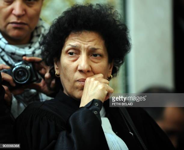 Tunisian lawyer and human rights activist Radhia Nasraoui gestures as she attends a meeting along with other lawyers in Tunis on December 29 2010 to...