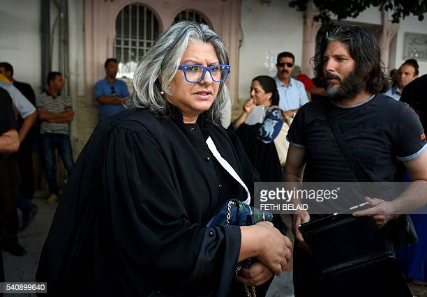 Tunisian lawyer Basma Khalfaoui Belaid the widow of murdered prominent Tunisian leftwing opposition leader Chokri Belaid arrives at the opening trial...